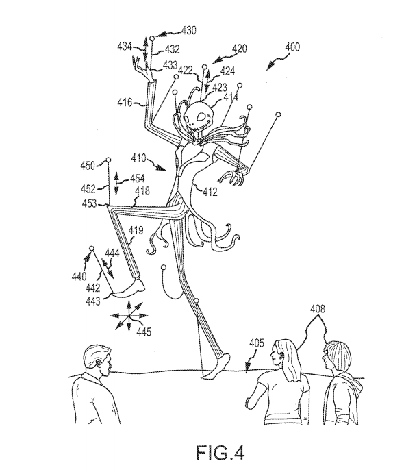 Sketch of Jack Skellington as a floating puppet - this patent seeks to suspend puppets in mid-air, supported by flying drones