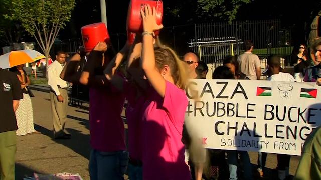 Pro-Palestinian Activists in Washington Accept 'Rubble Bucket Challenge'