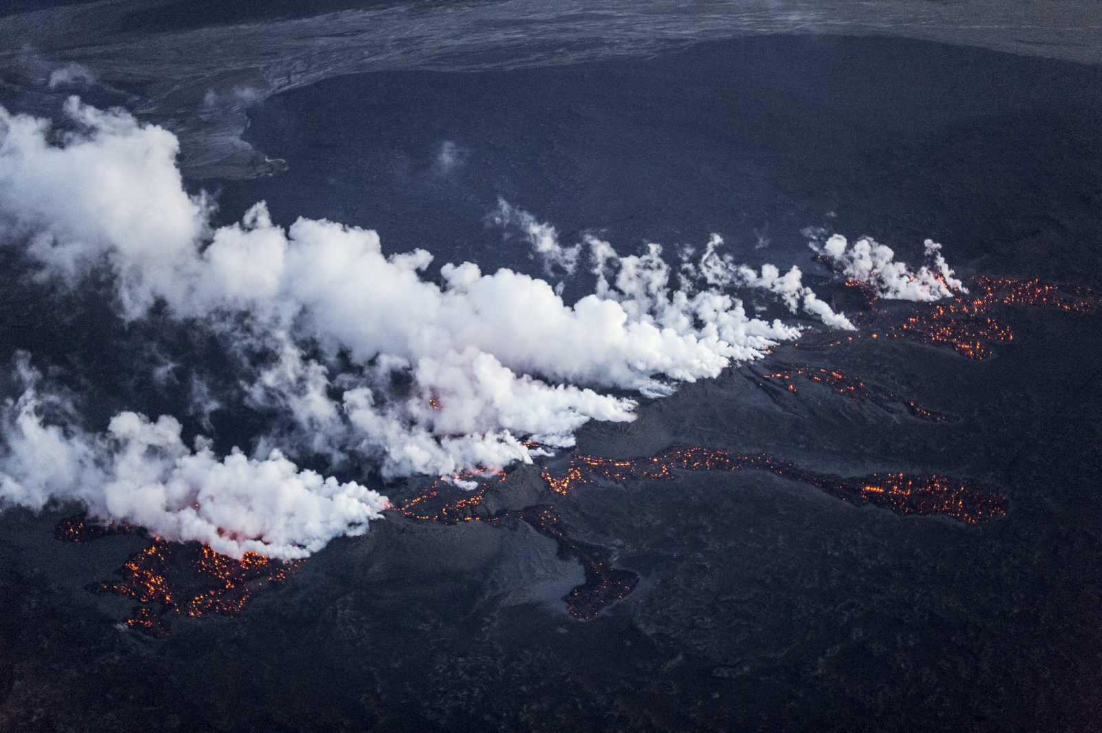 Magma along a fissure in a lava field north of the Vatnajokull glacier, which covers part of Bardarbunga volcano system