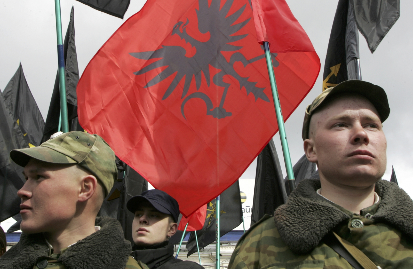 Soldiers guard a rally of Drugin's youth group the Eurasian Youth Union. (Reuters)