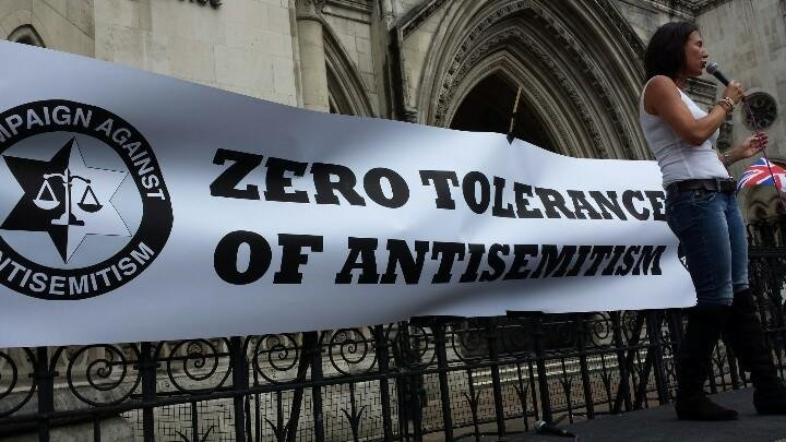 A London rally against anti-semitism drews thousands of supporters