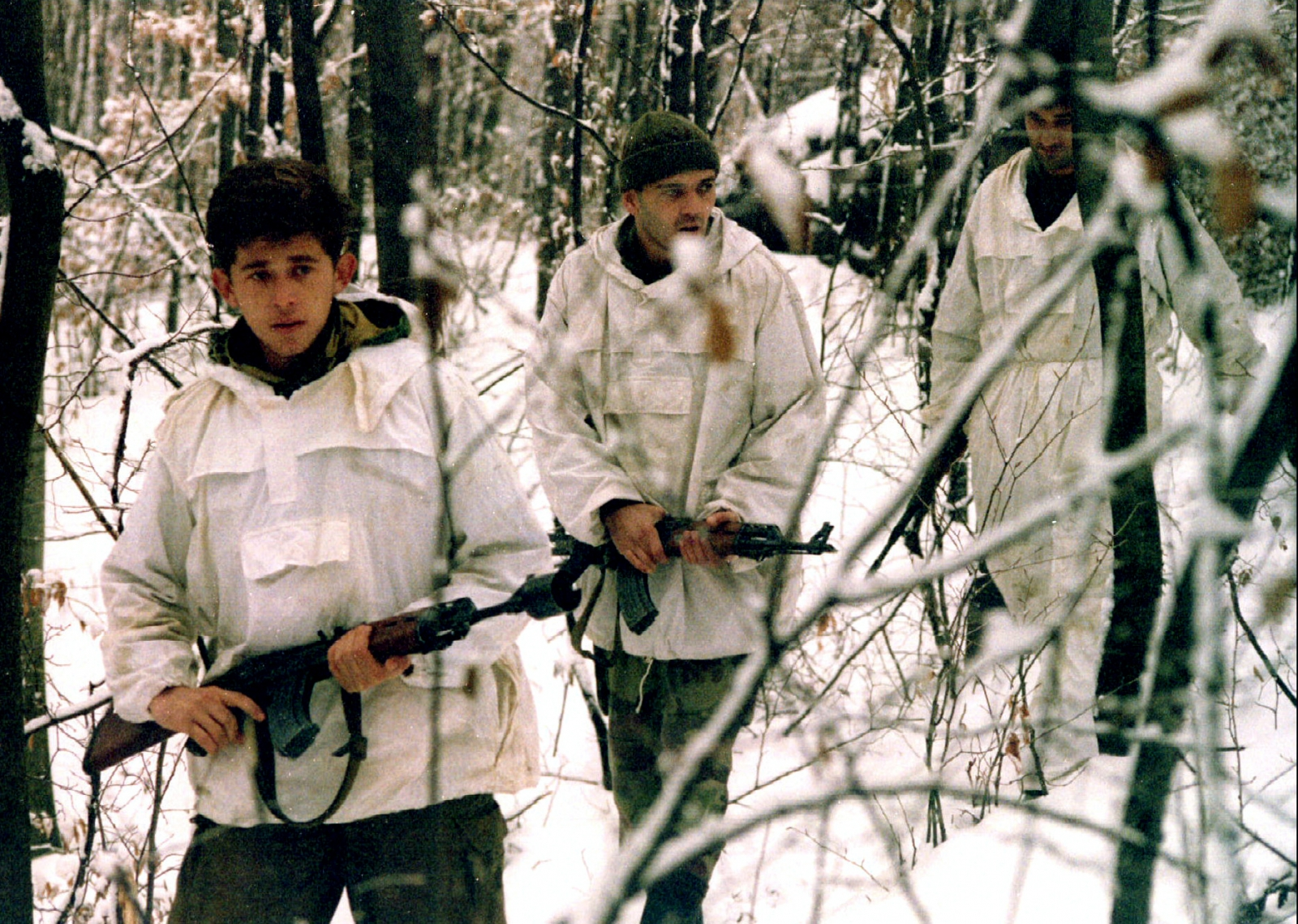 Bosnian Serb soldiers in reconnaissance patrol