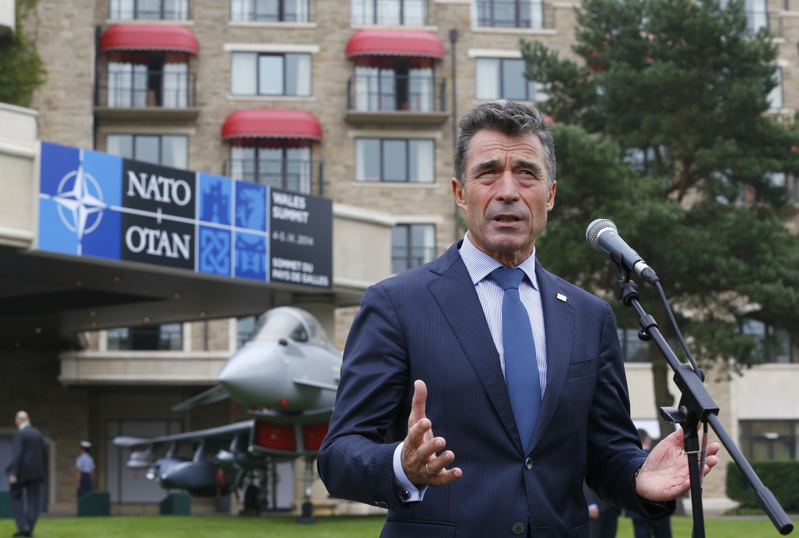 Nato Secretary-General Anders Fogh Rasmussen speaks to the media at the Celtic Manor resort, near Newport, in Wales September 4, 2014.