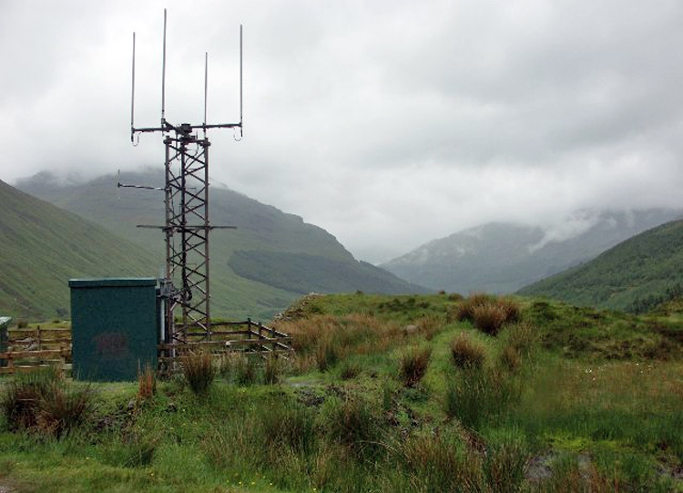A mobile base station mounted on the side of a hill