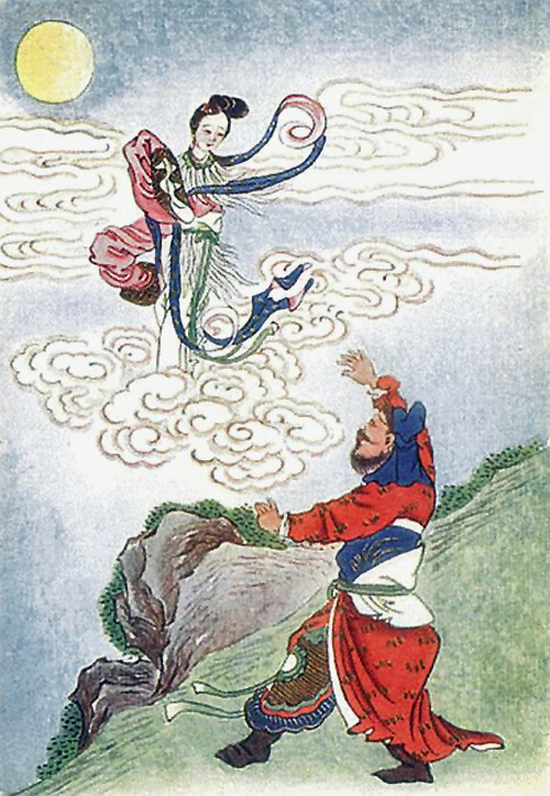 The legend of Chang'e, moon goddess and her consort Houyi