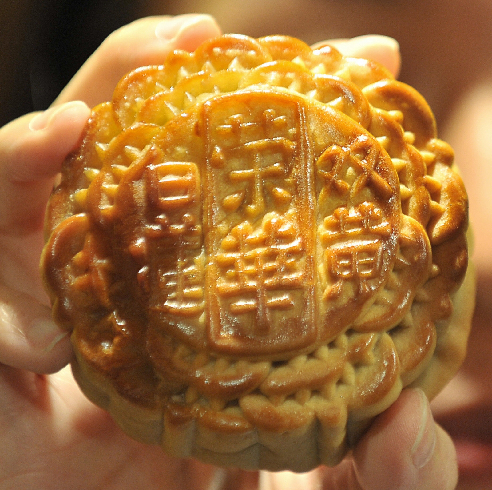 A traditional Chinese mooncake, made to celebrate the Mid-Autumn Festival
