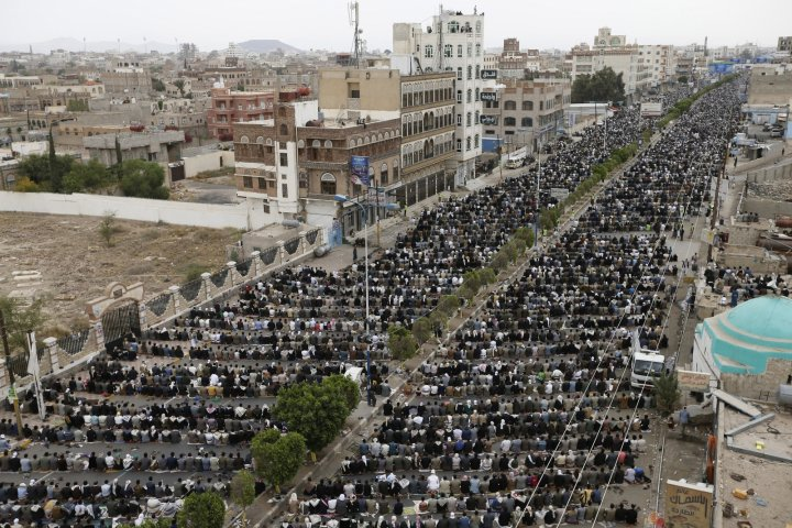 Houthi protest Sanaa