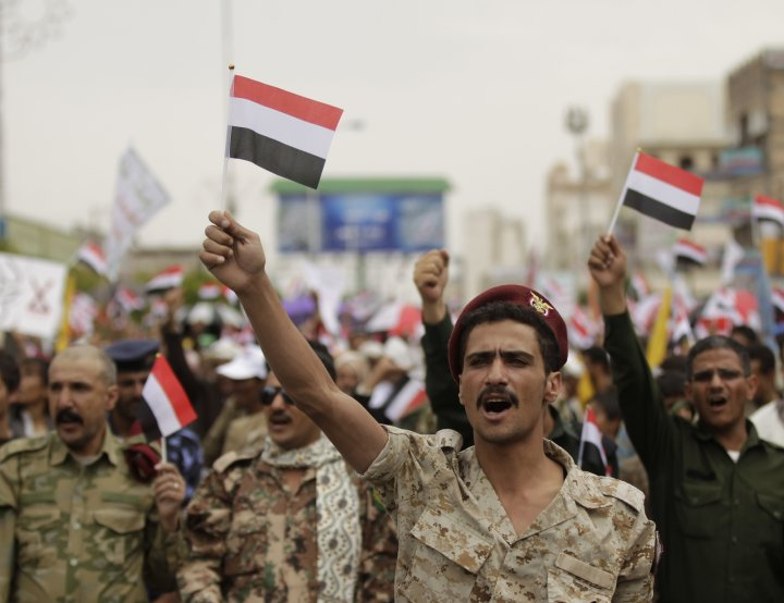 Houthi supporters protest in Sanaa