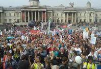 Protestors in Trafalgar Square