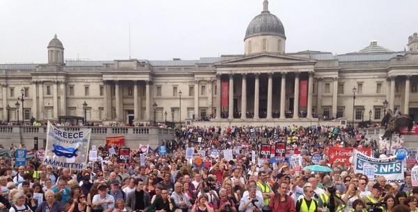 NHS Jarrow March  in Trafalgar Square- September 2014