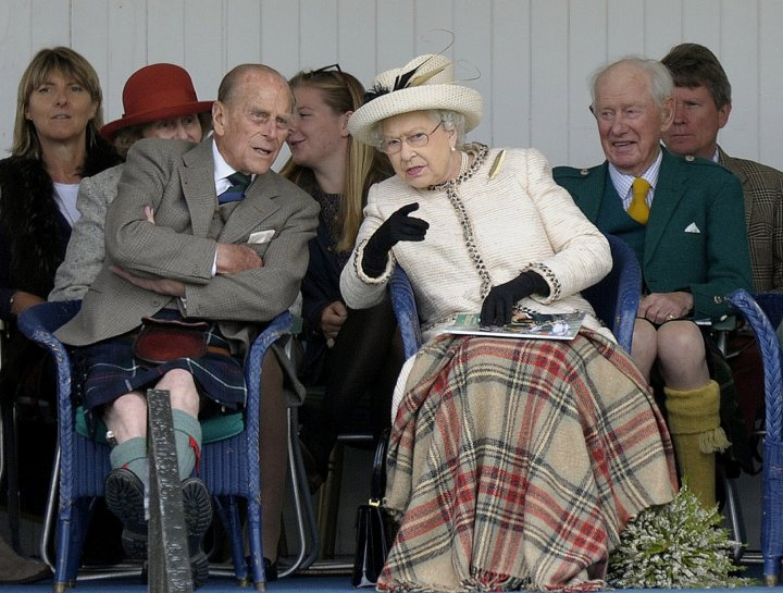 The Queen and Prince Phillip at yesterday's highland games in Braemar, Scotland. (Getty)