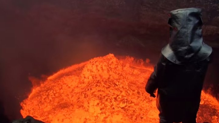 Explorer descends into volcano