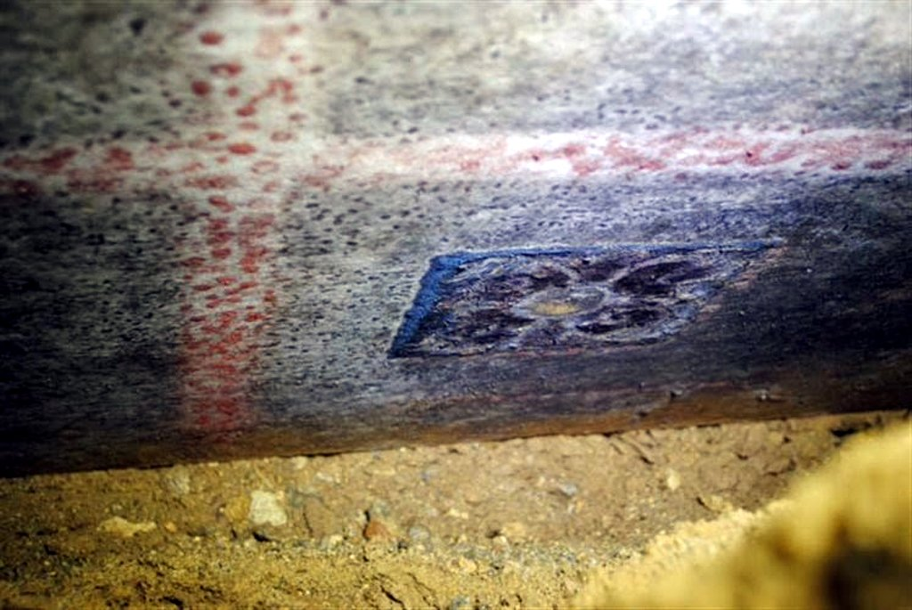 Painted marble tile embedded into the roof of the Greek tomb in Amphipolis