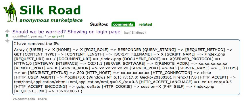 Silk Road Public IP address revealed