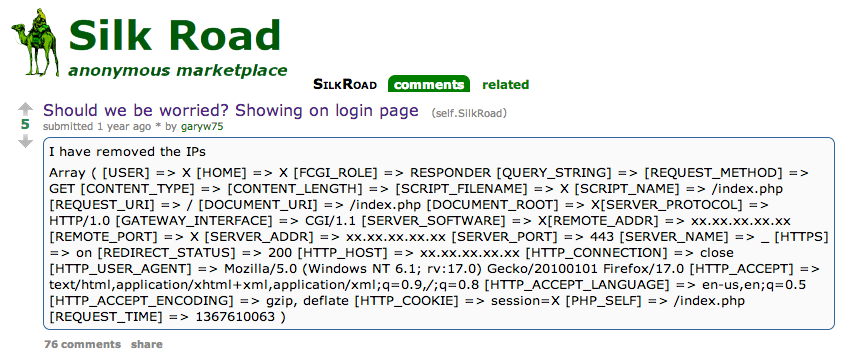 Silk Road Public IP address revealed