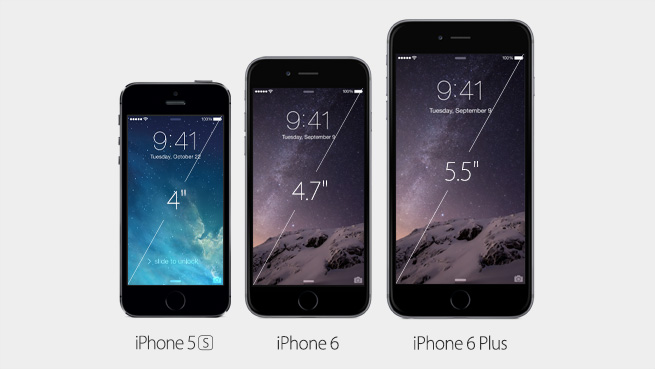 iPhone 6 iPhone 6 Plus iPhone 5S side by side