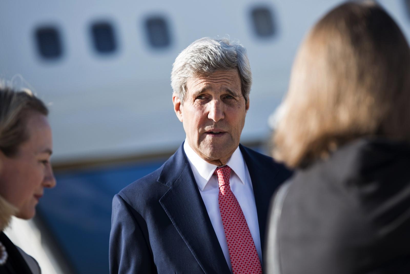 U.S. Secretary of State John Kerry arrives at Queen Alia Airport in Amman