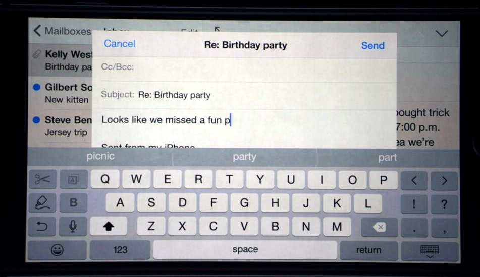 View email on iOS 8