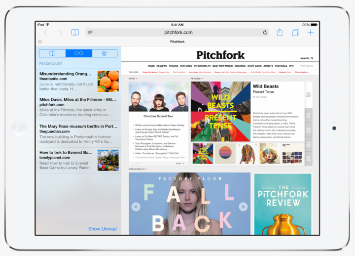 The new Safari web browser on iOS 8