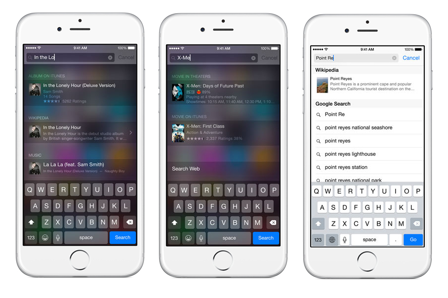 The Spotlight function on iOS 8