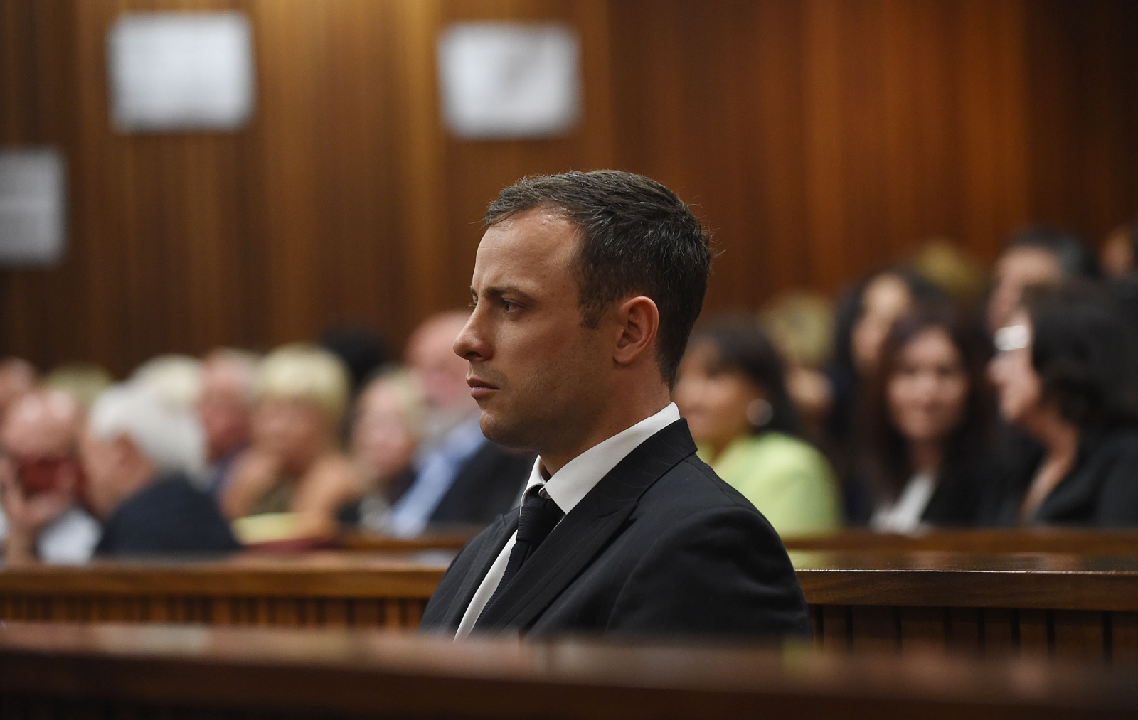 Oscar Pistorius in the courtroom listening to the judgement in the murder trial