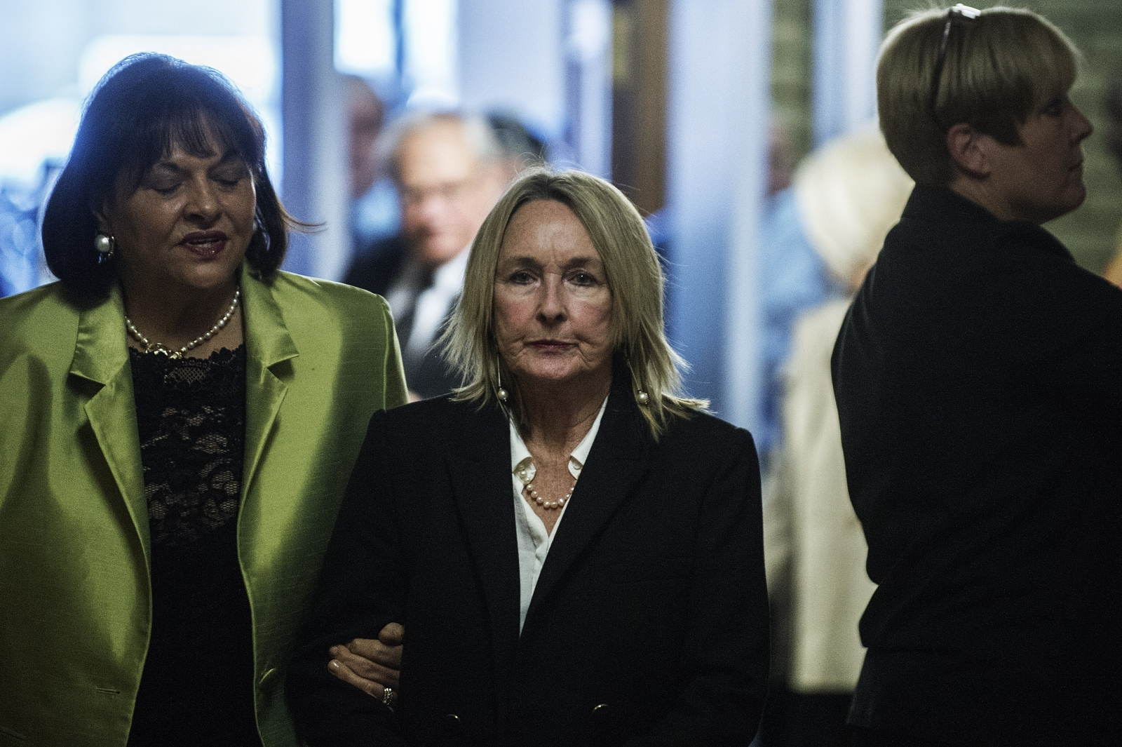June Steenkamp, the mother of Oscar Pistorius' victim Reeva, arrives at court