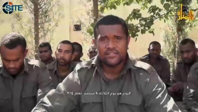 An unidentified U.N. peacekeeper and hostage speaks in an unknown location, in this still image from video said to be recorded by the al-Qaeda-backed al-Nusra Front