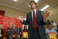 Britain\'s opposition Labour Party leader Ed Milliband speaks during a campaign meeting in Cumbernauld in Glasgow, Scotland September 10, 2014