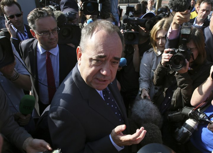 Scotland's First Minister Alex Salmond speaks to members of the media as he campaigns in Edinburgh, Scotland September 10, 2014