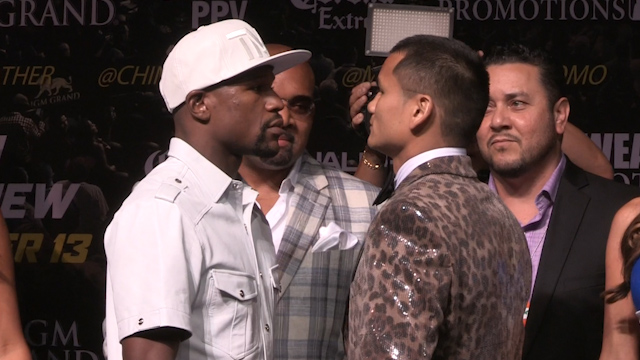 Floyd Mayweather and Marcos Maidana Square Up ahead of Rematch