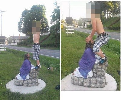 Teenaged boy mimics oral sex with statue