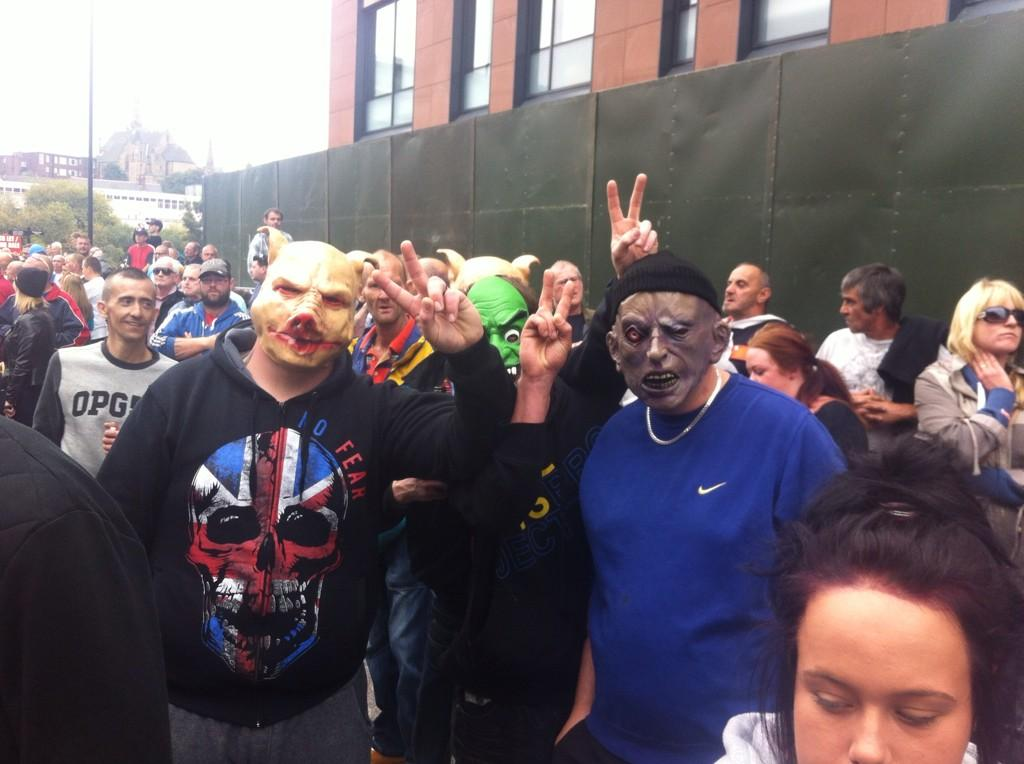 EDL protesters in Rotherham