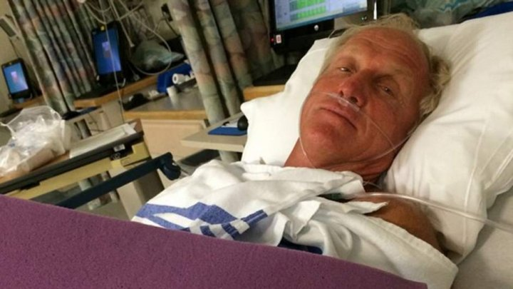 Australian golfer Greg Norman posted this photo from hospital, recovering from a chainsaw accident