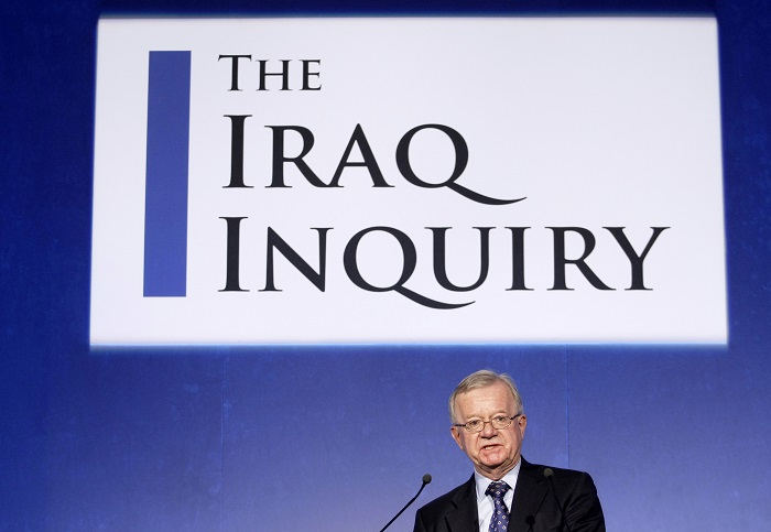 John Chilcot, chairman of the inquiry into the Iraq War, speaks during a news conference in London 30 July, 2009.