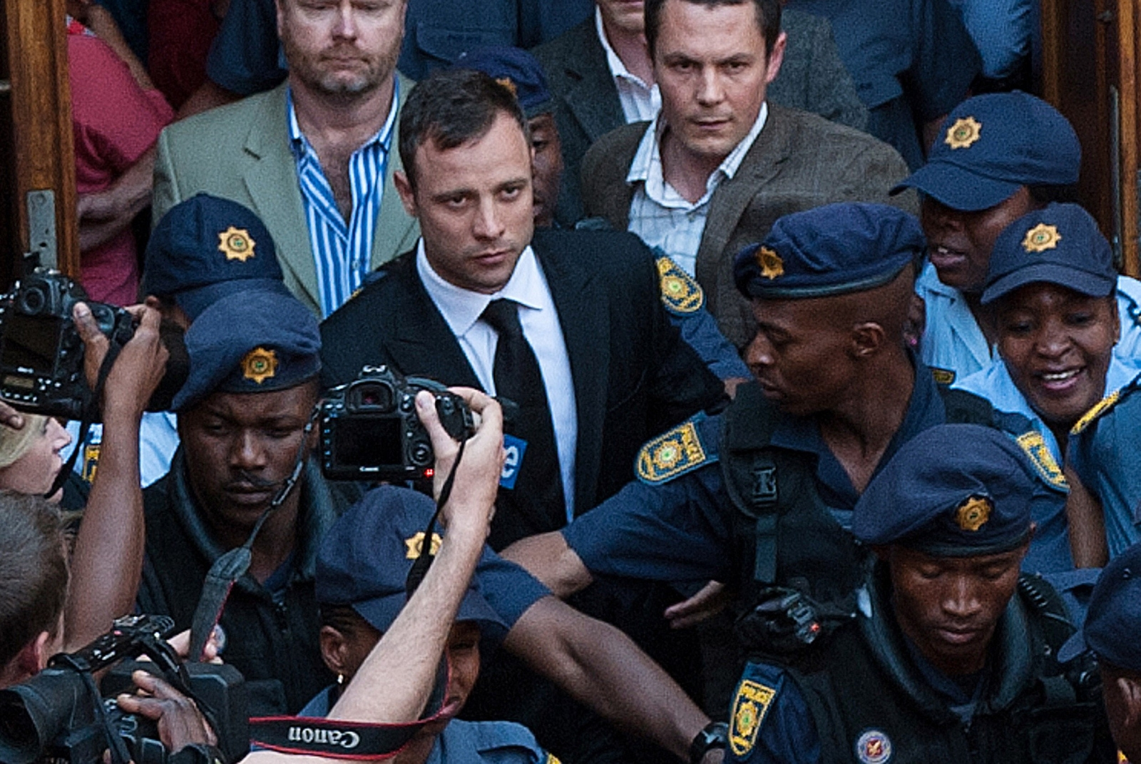 Pistorius is led out of court following the delivery of the manslaughter verdict last week. (Getty)