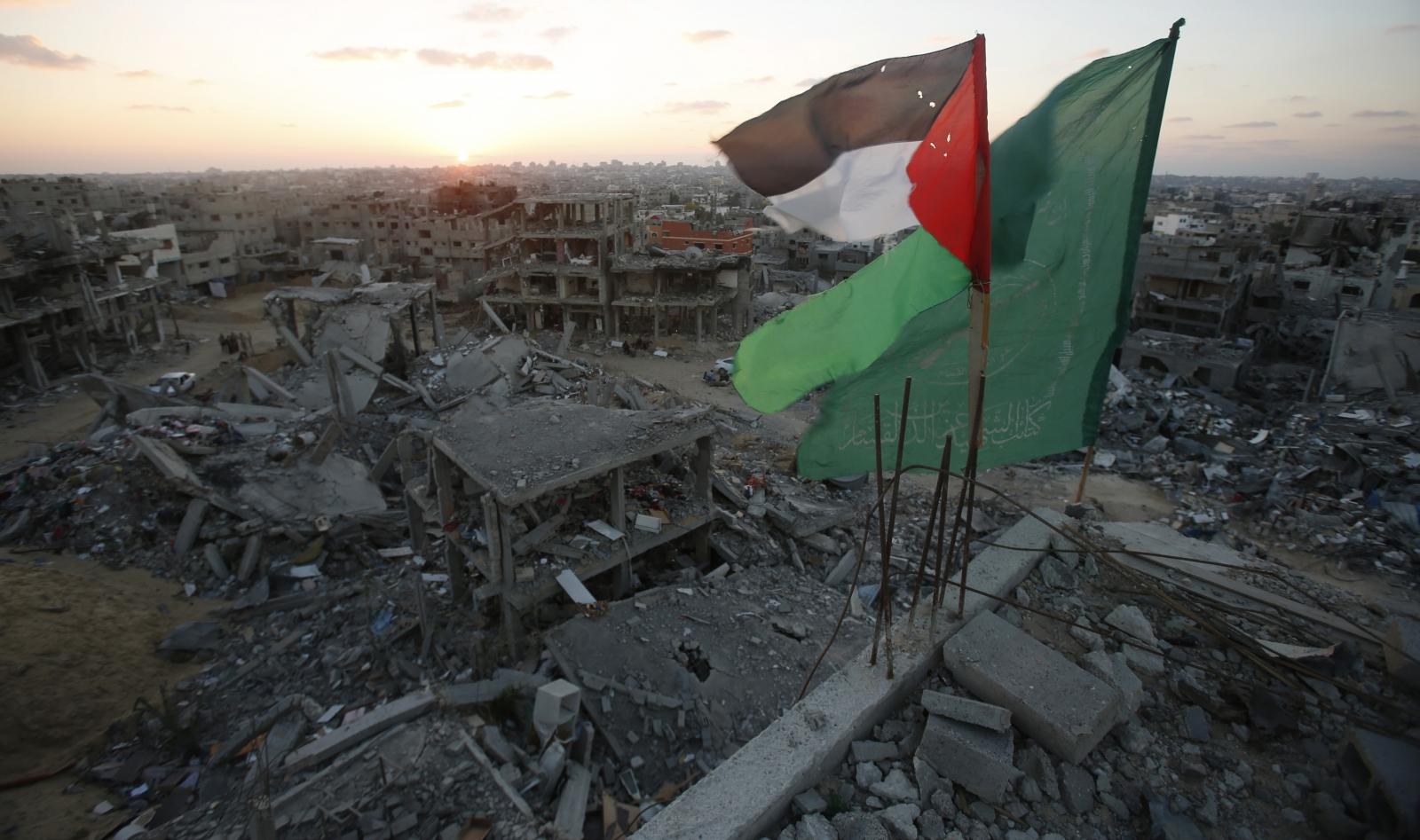 Palestine Hamas Flags Gaza City