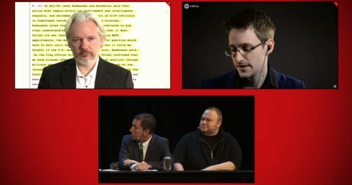 Moment of Truth event in Auckland: Julian Assange and Edward Snowden joined Kim Dotcom to highlight mass surveillance in New Zealand ahead of this weekend's general election