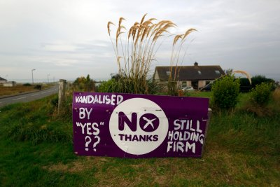 Vandalised No campaign poster in Stornoway