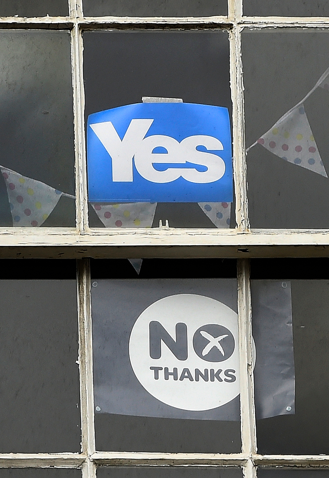 Yes and No signs in Edinburgh window