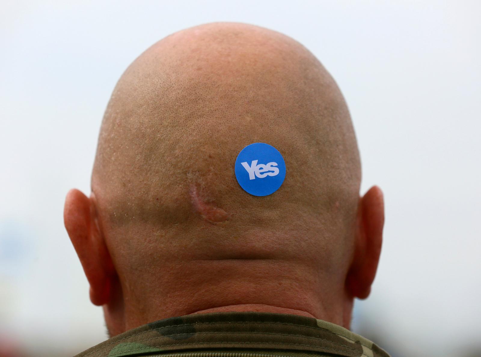 Yes sticker on bald mans head