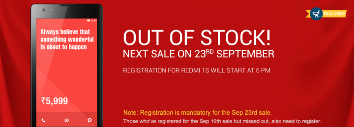 Xiaomi Sells 40K Redmi 1S Units in 3.5 seconds in Third Flash Sale: Registrations for 23 September Flash Sale Opens Soon