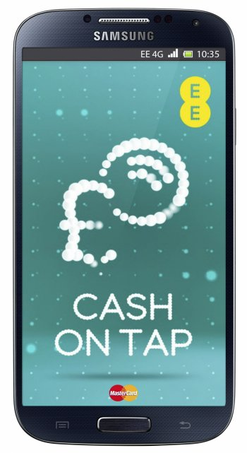 EE's Cash on Tap mobile app on an NFC-enabled Samsung smartphone