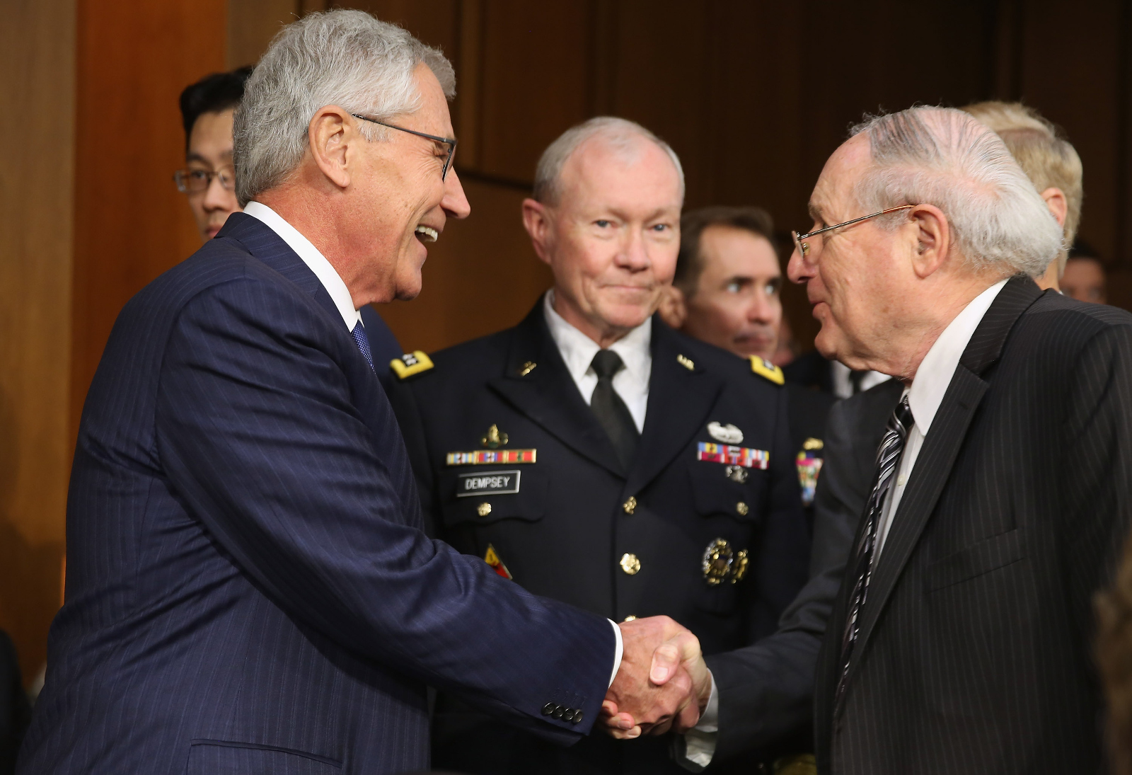 Chuck-Hagel-and-Martin-Dempsey-Greet-Carl-Levin