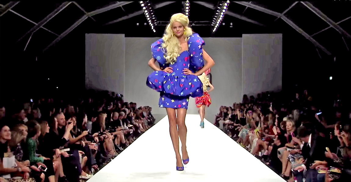 milan fashion week 2014 moschinos colourful barbie doll