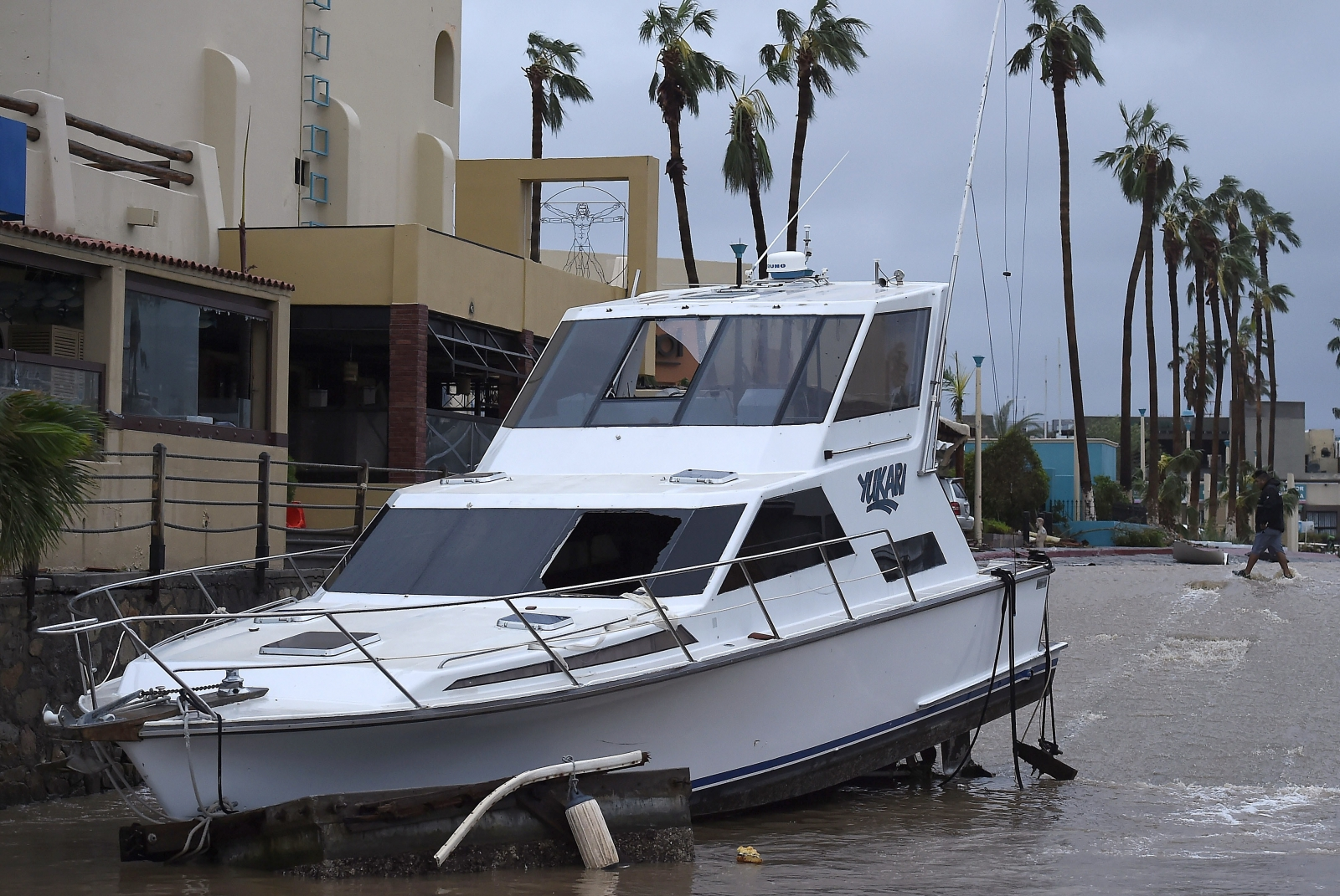 A yacht washed ashore by Hurricane Odile in Cabo San Lucas, on mexico's Baja California peninsular. (Getty)