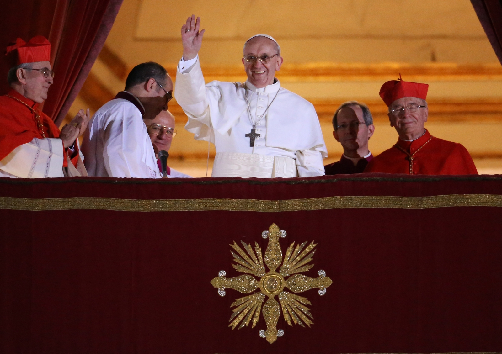 Pope Francis I on the balcony of St Peter's Basilica. It is feared he has become a target for Isis militants. (Getty)