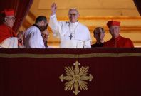 Pope Francis I on the balcony of St Peter\'s Basilica. It is feared he has become a target for Isis militants. (Getty)