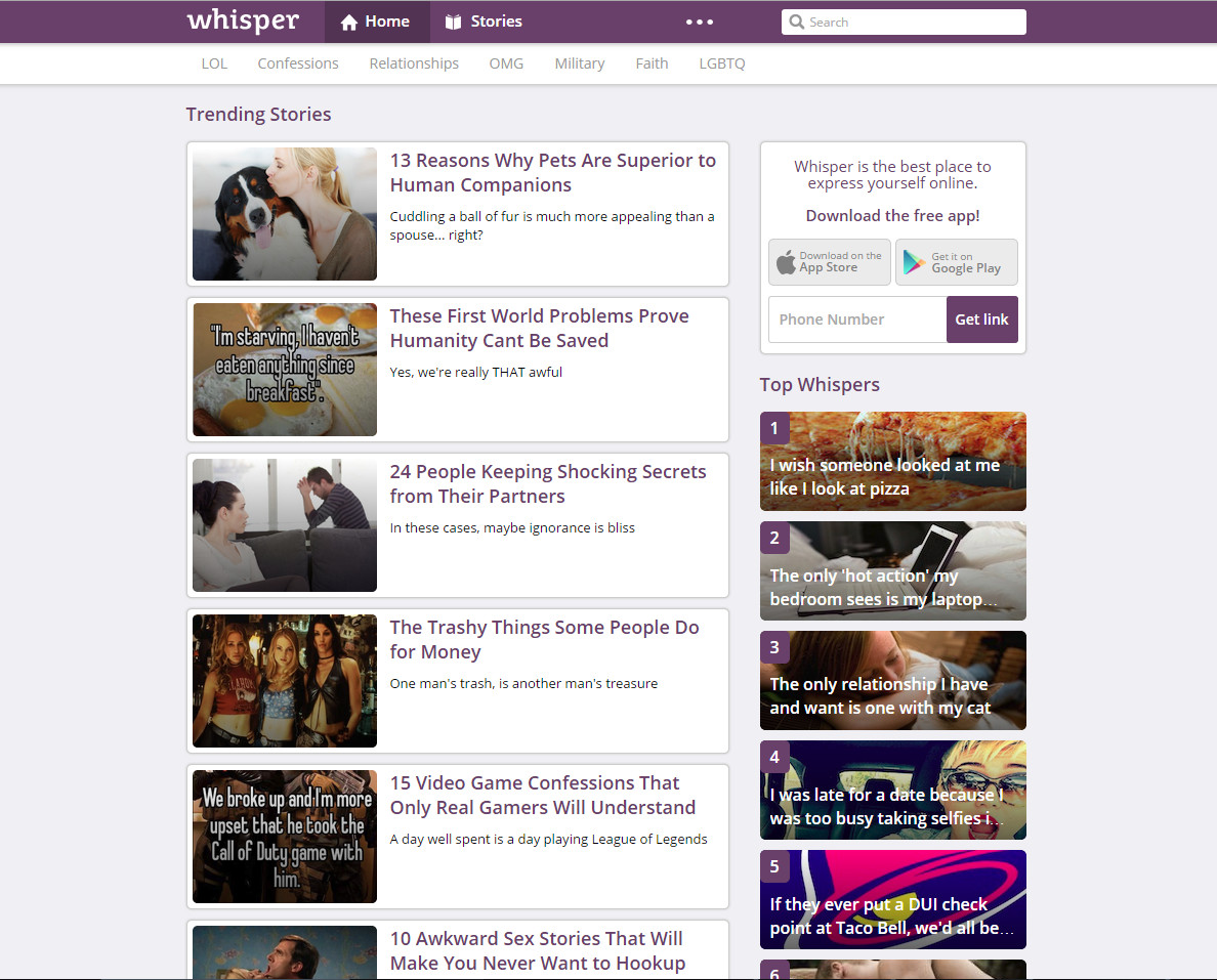 Whisper app website