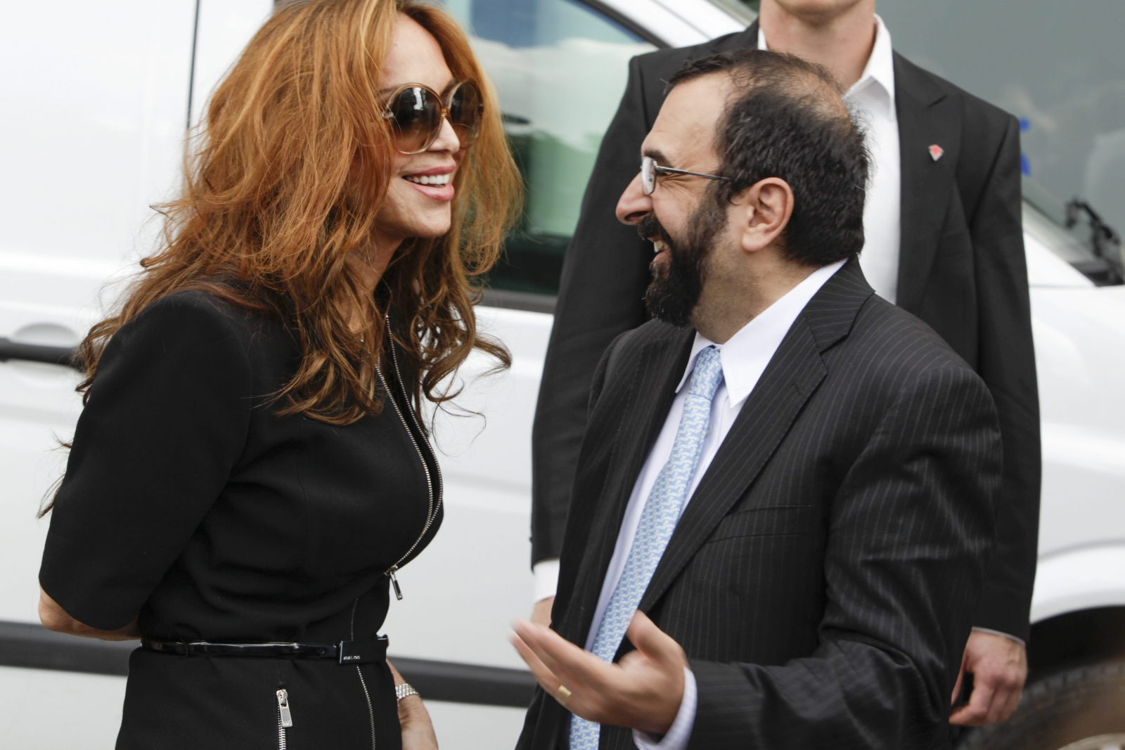 Anti-Islam activist Pamela Geller at a demsonstration in Sweden. (Getty)