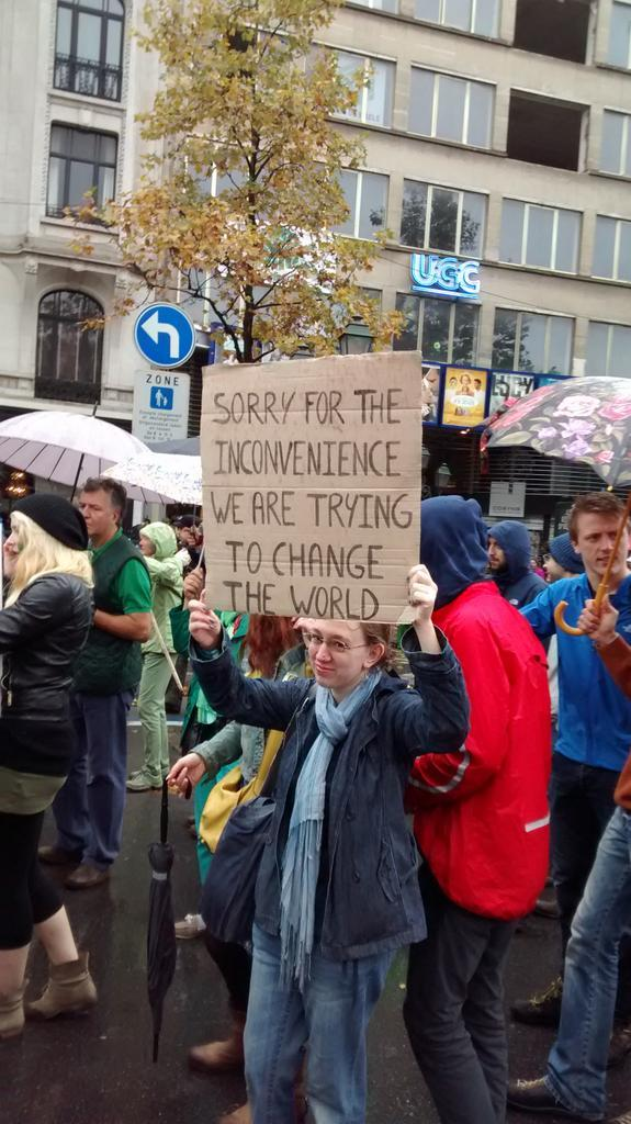 Peoples Climate March, Brussels, apology sign